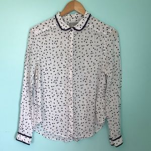 Anthropologie Maeve White Blue Dots Blouse sz S
